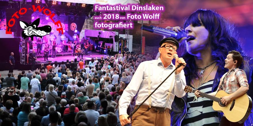 Fantastival Dinslaken - auch 2018 von Foto Wolff fotografiert - Collage mit Publikum und Stars wie Nena, Herbert Knebel und Michael Patrick Kelly