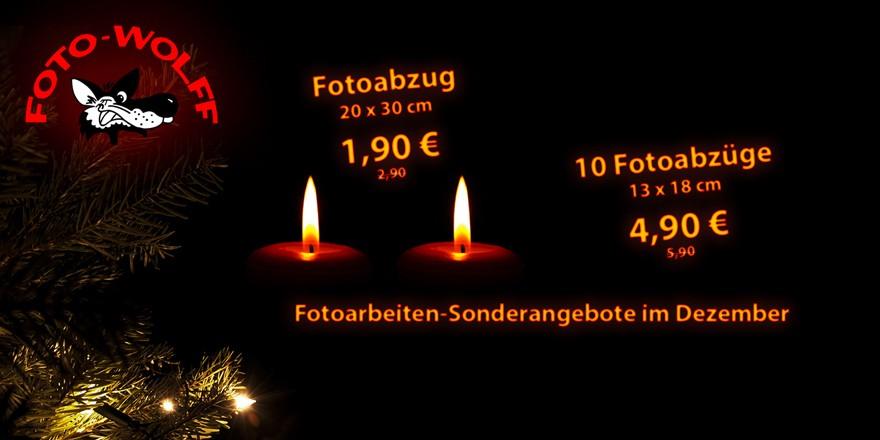 Fotoarbeiten-Sonderangebote im Dezember: Fotoabzug 20 x 30 cm: 1,90 €, 10 Fotoabzüge 13 x 18 cm 4,90 €