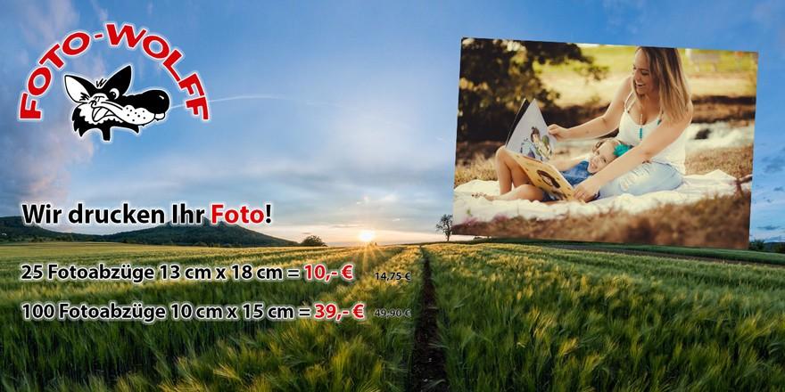 Fotoarbeiten-Sonderangebote Juni 2019. Fotoabzüge 13 x 18 und 10 x 15 zum Sonderpreis