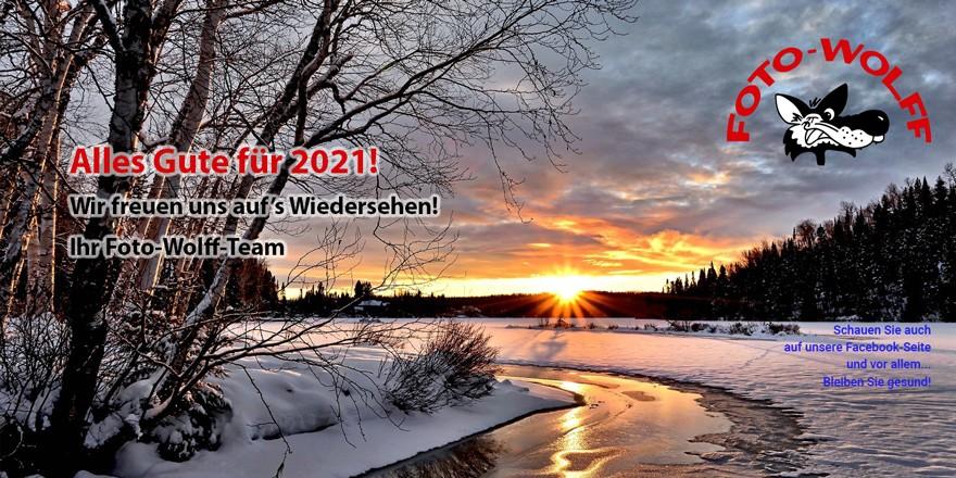 Winterlandschaft / Alles Gute für 2021! Wir freuen uns auf's Wiedersehen! Ihr Foto-Wolff-Team