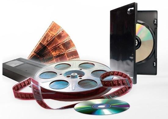 Filmrolle, VHS-Kassette, Negative und DVD