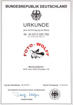 Eintragung der Marke Foto Wolff