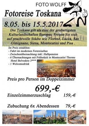 Flyer zur Foto Wolff-Fotoreise in die Toskana im Mai 2016