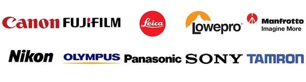 ollage der Hersteller-Logos von Canon, Fujfilm, Leica, Lowepro, Manfrotto, Nikon, Olympus, Panasonic, Sony, Tamron