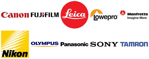 Collage der Hersteller-Logos von Canon, Fujfilm, Leica, Lowepro, Manfrotto, Nikon, Olympus, Panasonic, Sony, Tamron