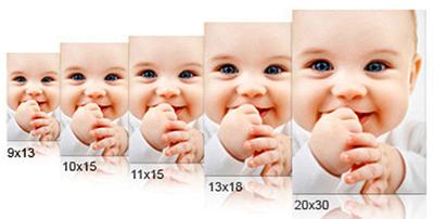 Reihe mit verschiedenen Fotoabzug-Formaten