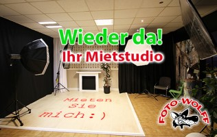 Wieder da! Ihr Mietstudio - Fotostudio mieten für eigene Shootings in Dinslaken