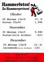 Hammerfotos zu Hammerpreisen - Fotoarbeiten-Sonderangebote Oktober bis Dezember 2017 bei Foto Wolff