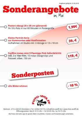 Mai-Sonderangebote bei Foto Wolff in Dinslaken