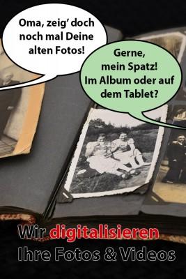 Altes Fotoalbum mit Sprechblasen - Wir digitalisieren Ihre alten Fotos und Videos