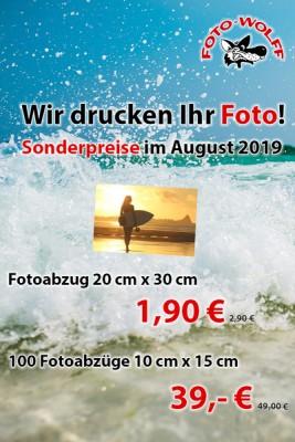 Fotoarbeiten-Sonderangebote August 2019: Fotoabzüge 20 x 30 und 10 x 15 zum Sonderpreis