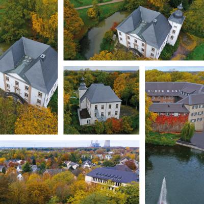 Fotos eines Drohnenflugs am Haus Voerde, von Foto Wolff Dinslaken
